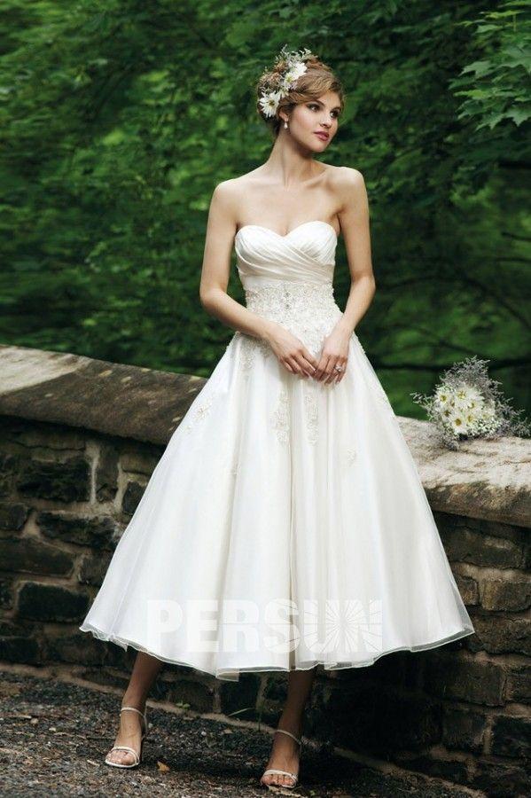 Mi-longue robe de mariée à bustier cœur - Persun.fr