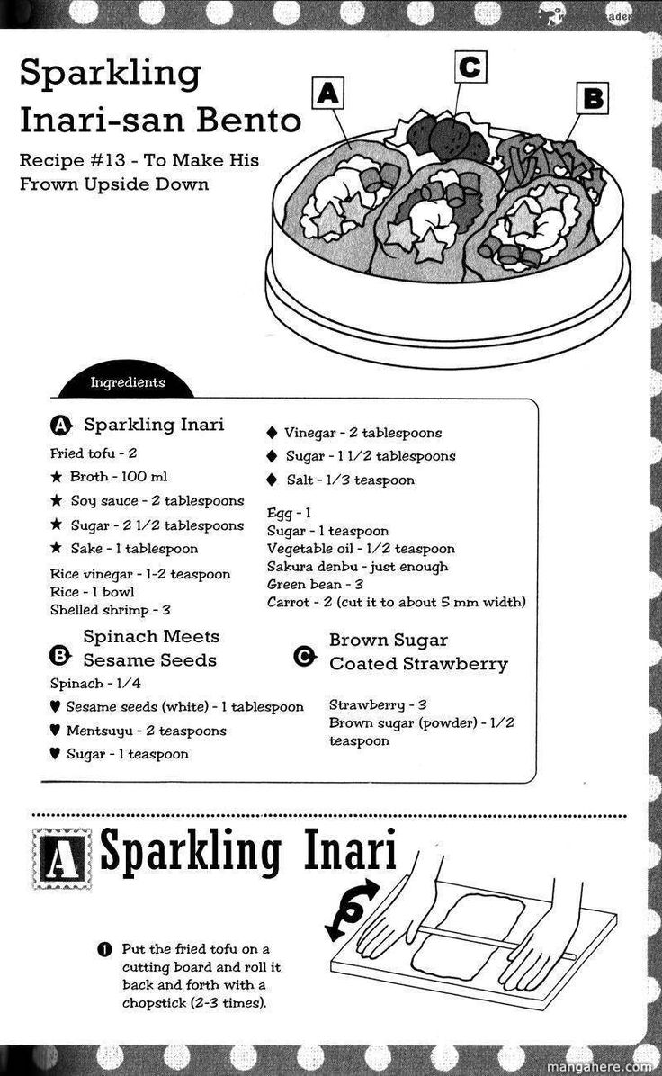 Sparkling Inari, Spinach Meets Sesame Seeds, Brown Sugar Coated Strawberry recipe part 1 - Hatsukoi Lunch Box by Kodaka Nao