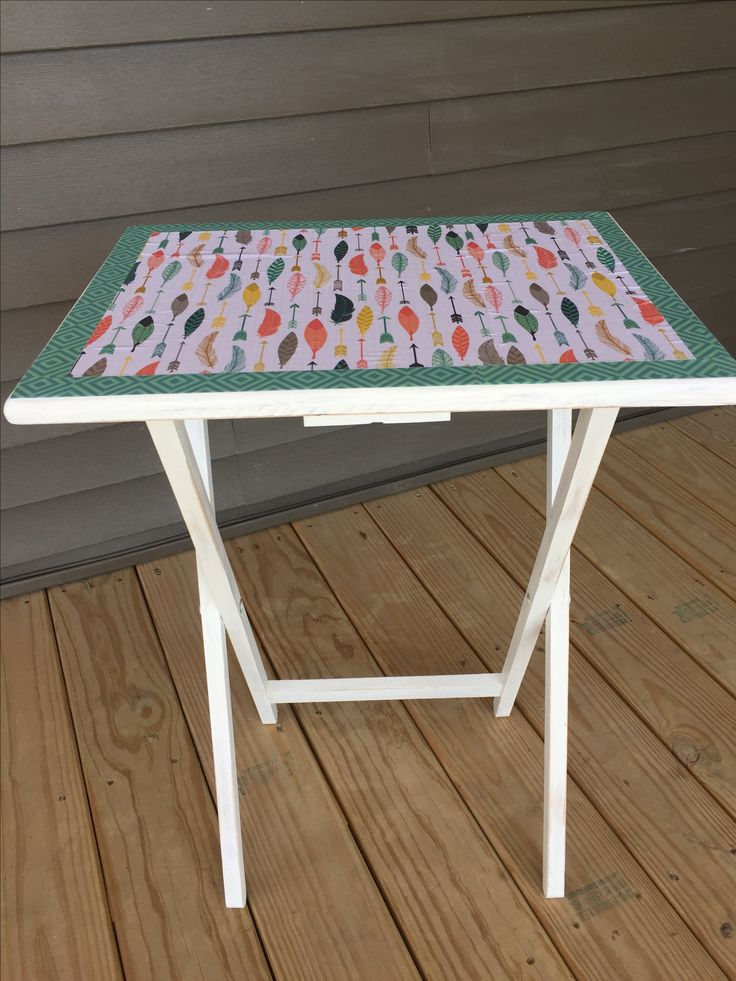 Chalky finished table with decoupage cover