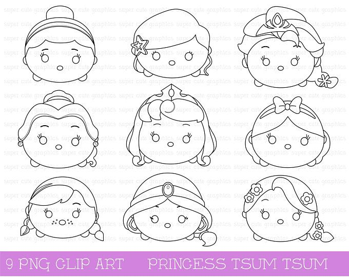 Tsum Tsum 200 High Resolution Digital Clipart Disney Tsum Etsy Tsum Tsum Coloring Pages Digital Stamps Coloring Pages