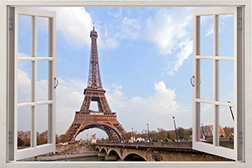 "Huge 3D Vinyl Wall Decal Sticker by Bomba-Deal, Window Frame Style High-Quality Home Décor Art Removable Wall Sticker, 33.5""X 47"" (Eiffel Tower Paris France Urban City Scape View) Bomba-Deal http://www.amazon.com/dp/B00LICZDRO/ref=cm_sw_r_pi_dp_.zvtwb1BFQSZK"