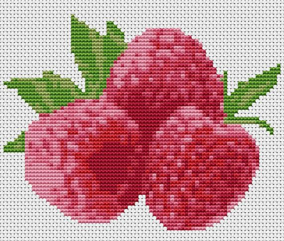 Raspberries  Modern Counted Cross Stitch Kit by FredSpools on Etsy, $11.00