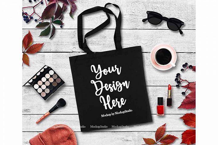 Download Fall Tote Bag Mock Up Black Canvas Tote Feminine Flat Lay Mockupstation Tools And Elements Mock Ups Bag Mockup Design Mockup Free Fall Tote