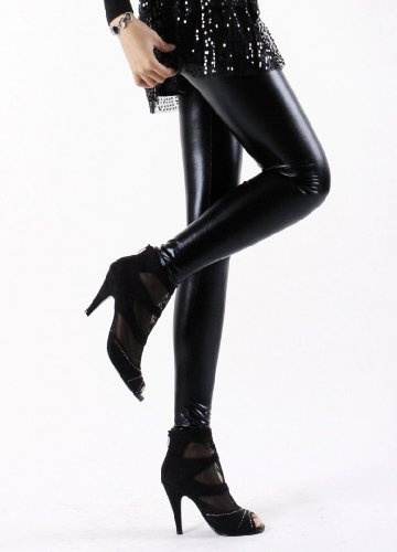 Women Sexy Wet Look Tight Shine Liquid Metallic Faux Leather High Waisted Leggings (Party Look)(pvc Look)