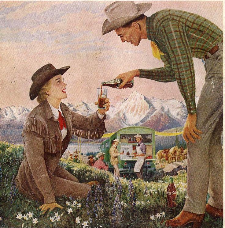 Vintage Coke Ads | 1958 Coke ad Wyoming Cowboy Cowgirl Chuck Wagon Coca Cola Vintage ...