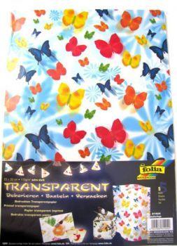 Papír průhledný - motýl 5 listů