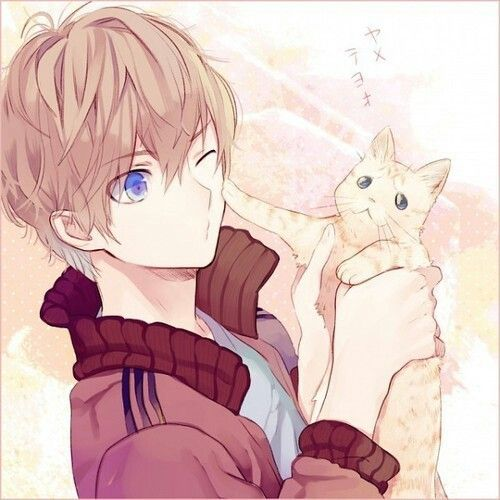 ✮ ANIME ART ✮ animal. . .cat. . .anime boy with animal. . .playful. . .silly. . .cute. . .kawaii
