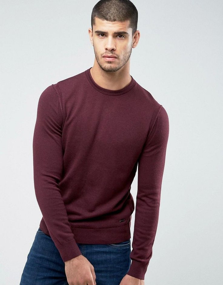 BOSS ORANGE BY HUGO BOSS ALBONON MERINO KNITTED SWEATER IN BURGUNDY - RED. #bossorange #cloth #