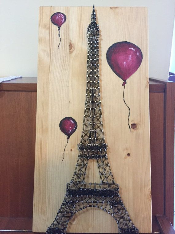 String art Eiffel Tower with Balloons by Anitasstring on Etsy