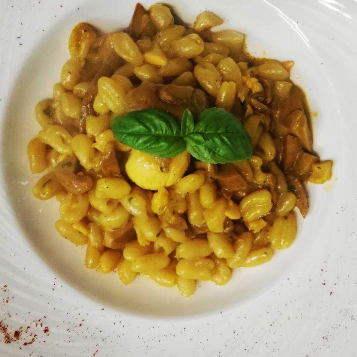 Pisareo porcini capasanta e zafferano #larustica #agazzano #valluretta #instafood #food #foodporn #pisareo #porcini #capesante #zafferano