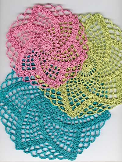 "Easy and quick-to-stitch doilies!    Pattern set includes 3 matching doily patterns that measure  5 1/2 (6 3/4, 7 1/2)"" in diameter. Doilies are shown using size 10 crochet thread and U.S. size 7/1.65mm steel crochet hook."