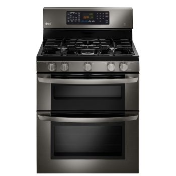 LG Black Stainless Steel Series 6.1 CU. FT. CAPACITY GAS DOUBLE OVEN RANGE WITH EASYCLEAN®, The gray goes so well with my green/gray cabinets (because gray goes with everything :))    #LGLimitlessDesign & #Contest