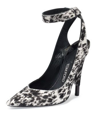 Leopard-Print+Calf-Hair+Ankle-Wrap+Pump,+White/Black+by+TOM+FORD+at+Neiman+Marcus.