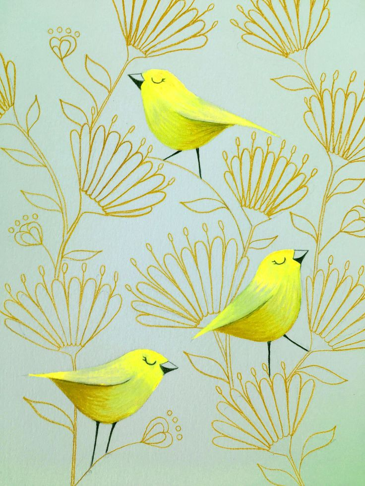 Yellow birds with gold flowers by Deb Hudson. coloured pencil drawing