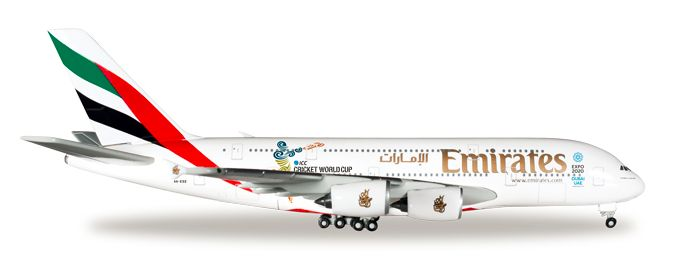 """1/500 Herpa Emirates Airline """"2015 Cricket World Cup"""" Airbus A380-800 Diecast Model"""