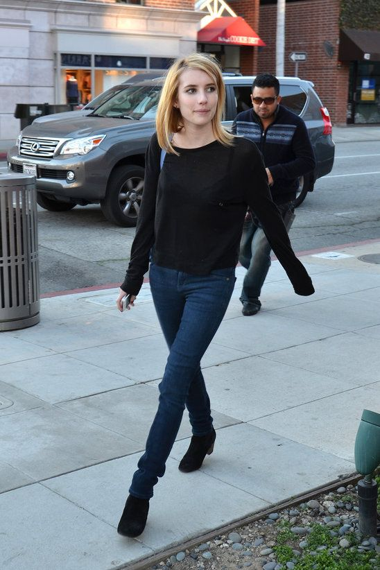 Emma Roberts: suede ankle boots + long sleeved top + jeans