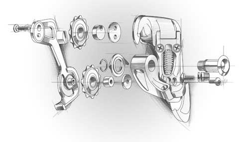 Exploded illustration of a gear changer