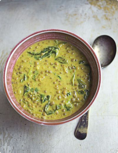Green lentil soup with coconut milk.