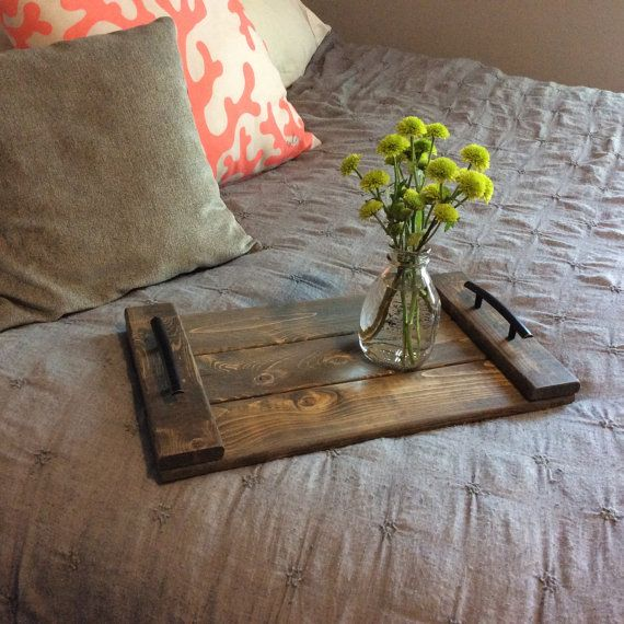 Wood Serving Tray Home Decor Accessory with weathered walnut stain.  Rustic Wooden Serving Tray, Country Farmhouse, Ottoman Tray