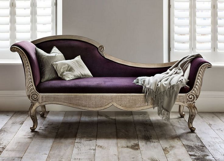 Purple Silver Chaise Comfortable Chaise Bedroom Furniture Chaise Lounge Sofa