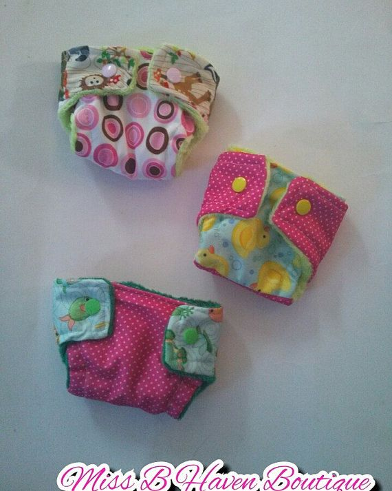 Doll diapers baby alive set of three cloth by MissBHavenBoutique