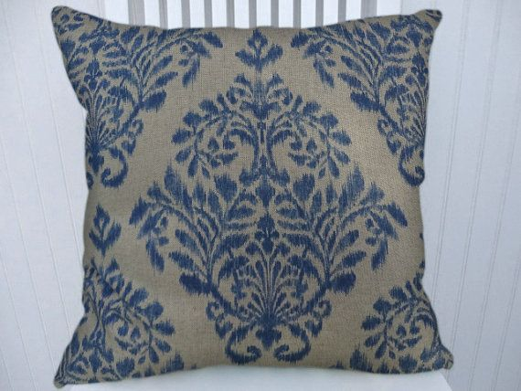 Blue Beige Ikat/Floral Pillow Cover-- 18x18 Or 20x20 Or