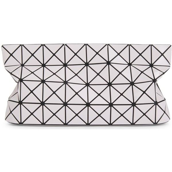 Bao Bao Issey Miyake Prism glossy clutch ($385) ❤ liked on Polyvore featuring bags, handbags, clutches, bao bao by issey miyake, structured handbags, pattern purse, geometric purse and chain handle handbags