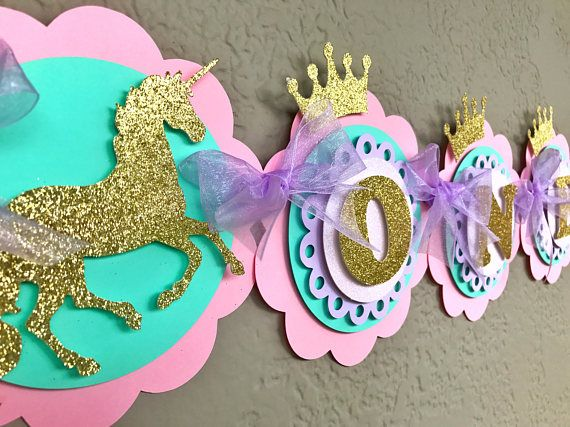 Unicorn High Chair Banner, Cake Smash, 1st Birthday, 2nd Birthday, Unicorn Birthday, Unicorn Party Pink Lavender Mint Gold, Pastel Birthday