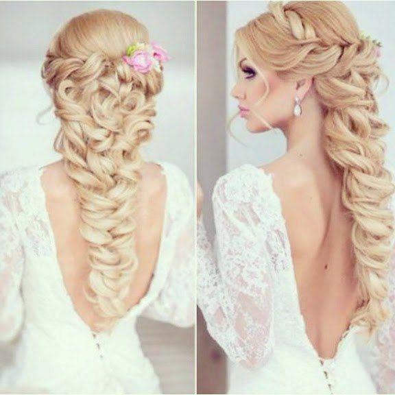 Superbe coiffure de mariage avec tresse large. Cheveux très longs!