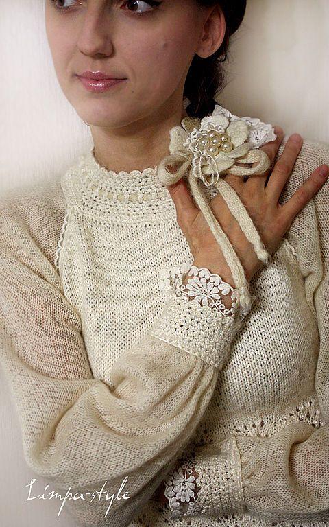 """Блузка """"Торжество цвета """"Ivory""""... Винтаж - блузка,винтаж,айвори,слоновая кось"""