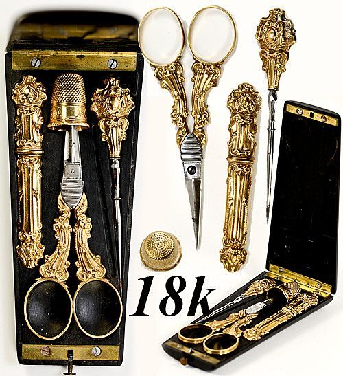 French 18k gold sewing tools in ebony etui, c.1838-1860