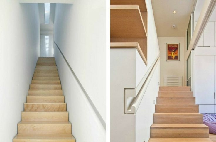 escalier en bois clair moderne avec main courante encastrée dans le mur