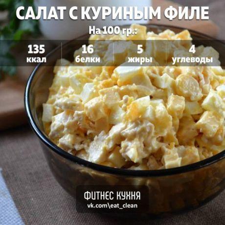"""Салат с куриным филе и сыром """"Наслаждение"""" Ингредиенты: Куриное филе - 300 г Кукуруза консервированная - 120 г Яйца - 3 шт Сыр - 100 г Йогурт натуральный - 100 г Приготовление: Яйца отварите вкрутую, а куриную грудку отварите в слегка подсоленной воде до готовности. Твердый сыр порежьте мелким кубиком. Отваренное куриное филе остудите и измельчите. Можно просто порвать его мелко руками, а можно порезать ножом. Яйца мелко порубите. Смешайте все ингредиенты в салатнике, заправьте…"""