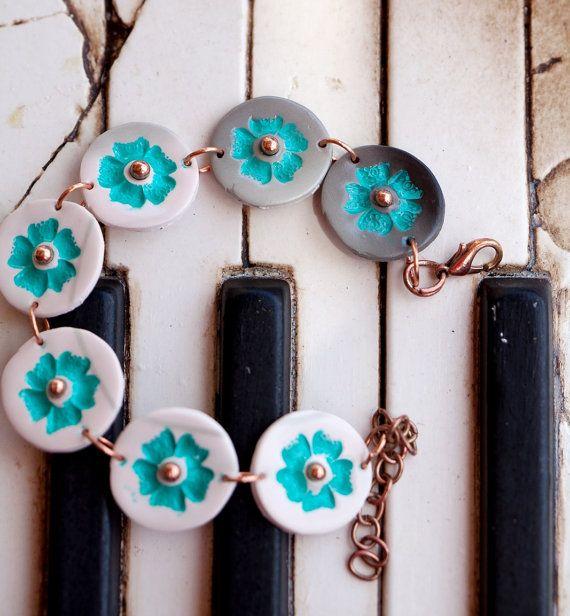 flower bracelet  polymer clay bracelet with by zhabkadesigns