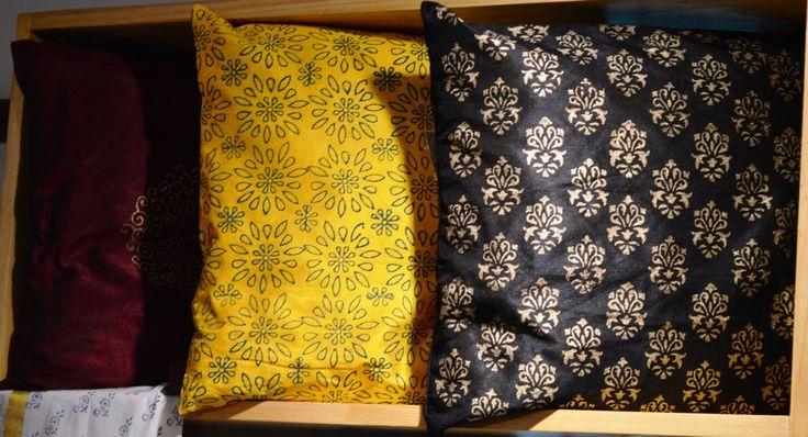 Semi Raw Silk Block Printed