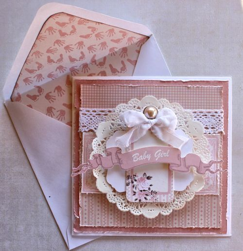 """Pink """"Baby Girl"""" Card by Alison Bevis for Kaisercraft using 'Pitter Patter' Collection ~ Baby Cards."""