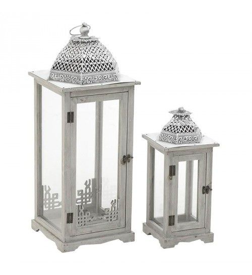 S_2 WOODOEN LANTERN IN WHITE_SILVER COLOR 27X27X73