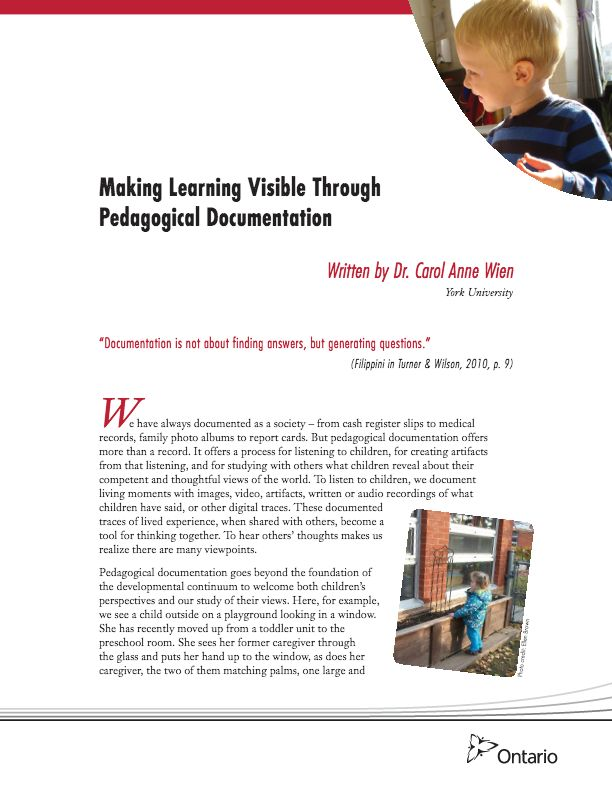 Making Learning Visible Through Pedagogical Documentation