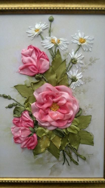 ribbon embroidery - amazing roses and daisies