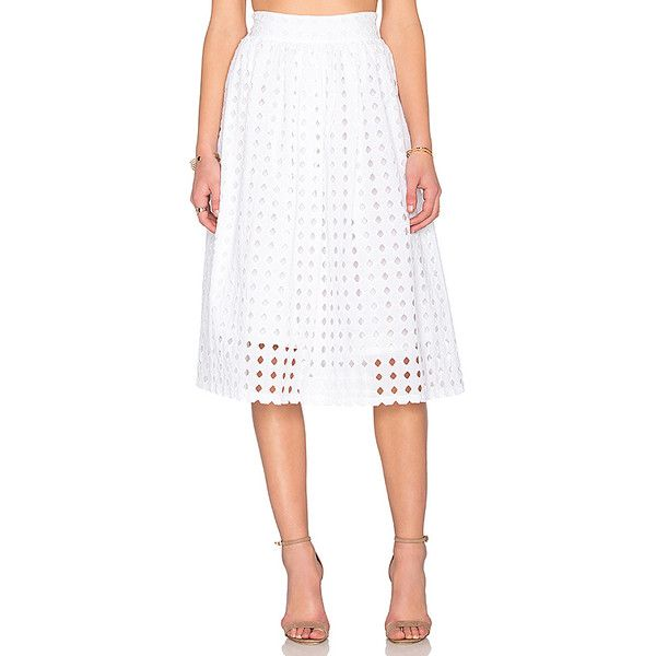 Clayton Vernon Eyelet Skirt Skirts (£105) ❤ liked on Polyvore featuring skirts, eyelet skirt, clayton, white eyelet skirt, embroidered skirt and white skirt