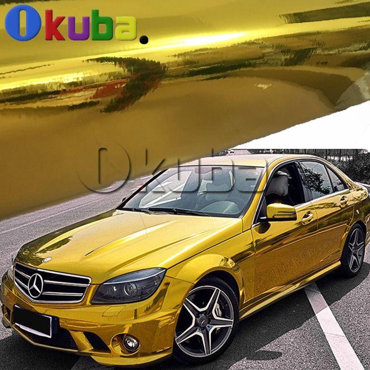 Latest Flexible Chrome Gold Vinyl Car Wrap Golden Chrome