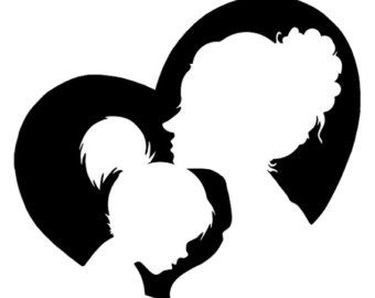Nursery Art for Babies Developing Sight - Mother Daughter Heart - Silhouette Painting