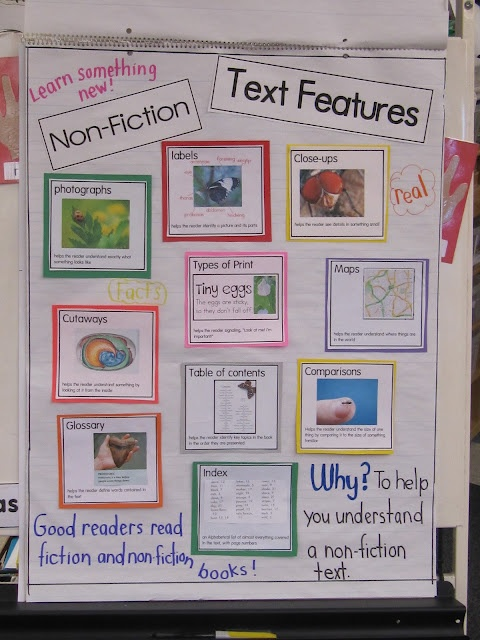 Non-fiction features: Language Art, Anchor Charts, Nonfiction Text Features, Book, Poster, Nonfiction Texts Features, Joy Learning, Non Fiction, Anchors Charts