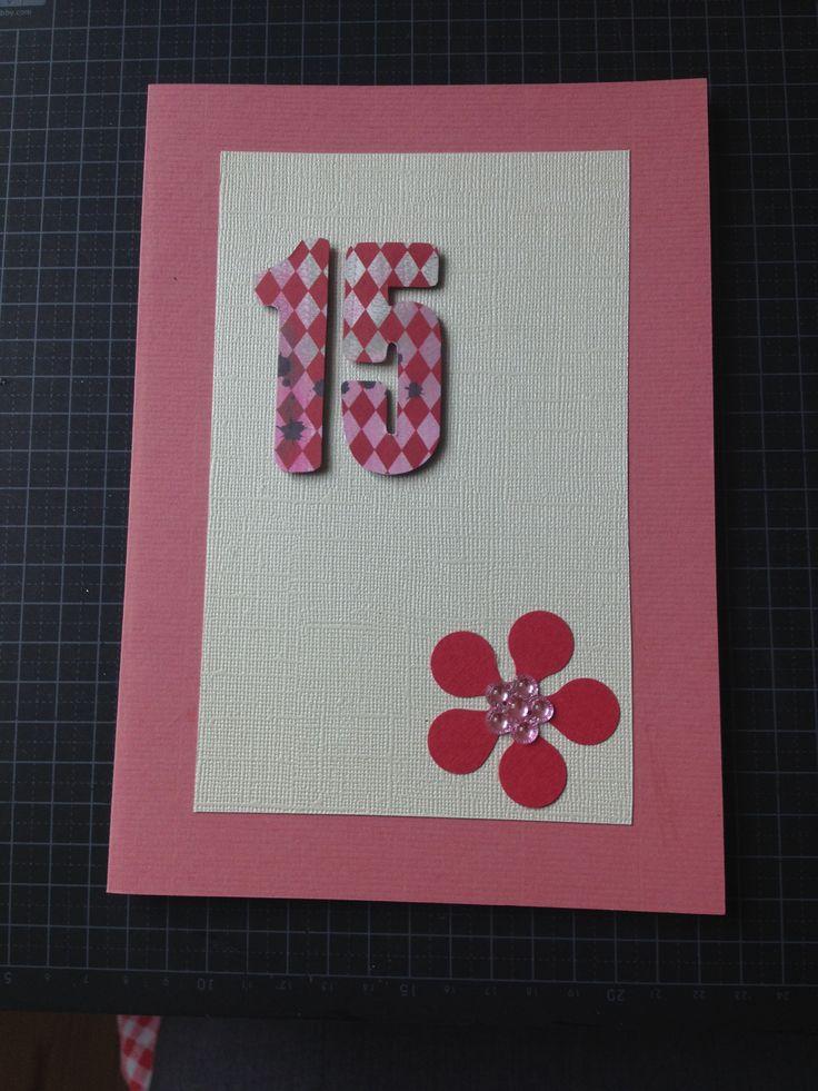 Birthday, girl, homemade card, 15 years