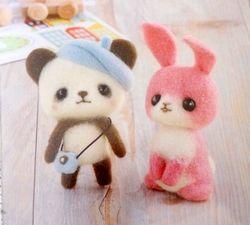 Kit japonais Panda et Lapin rose feutrage à l'aiguille -15%