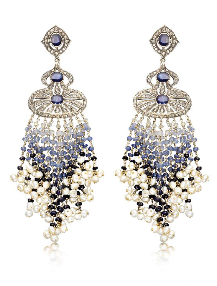 Sapphire, Pearl & Diamond Waterfall Earrings by Amrapali