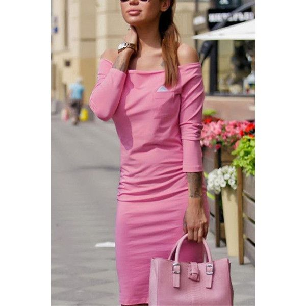 Yoins Pink Off-shoulder Triangle Bodycon Dress ($16) ❤ liked on Polyvore featuring dresses, pink, sleeved dresses, off the shoulder dress, off shoulder dress, triangle dress and body conscious dress