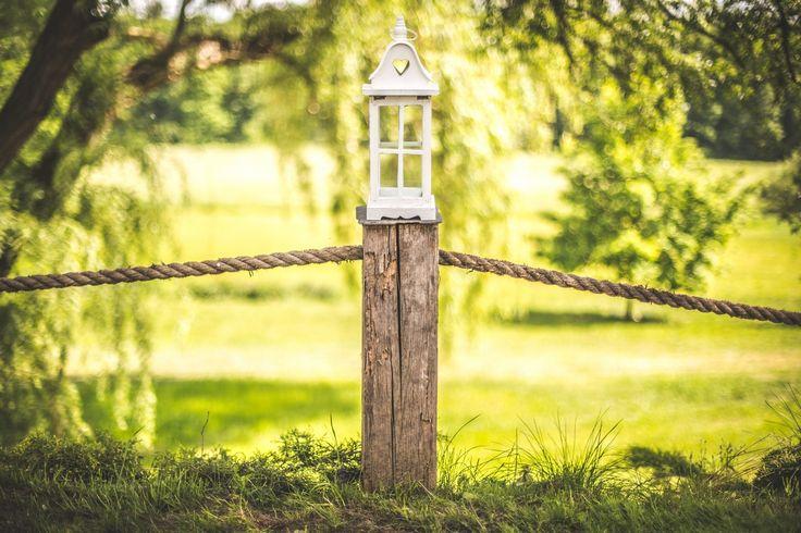 mała latarnia / small lamp #wedding #decoration #lantern #rustic #light #candle #garden