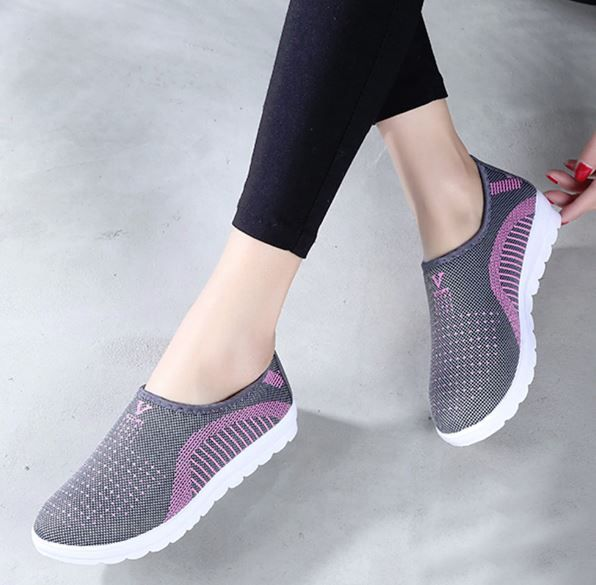 Women/'s Mesh Flat With Cotton Casual Walking Stripe Sneakers Loafers Soft Shoes