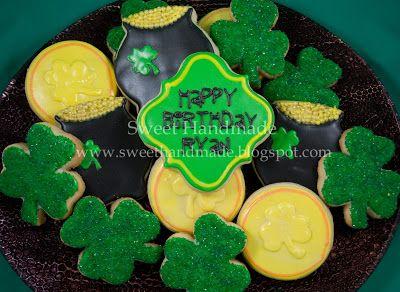 Sweet Handmade Cookies - St. Patrick's Day cookies, pot of gold cookies, gold coin cookies, shamrock cookies